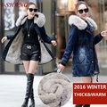 Vintage Women Winter Denim Jackets Coats Thick Warm 2016 Blue Jeans Ladies Slim Cotton Padded Fur Hooded Jackets Outerwear J22-1