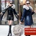 Vintage mulheres denim jaquetas casacos de inverno quente grossa 2016 azul jeans slim senhoras jaquetas de algodão acolchoado com capuz de pele outerwear j22-1
