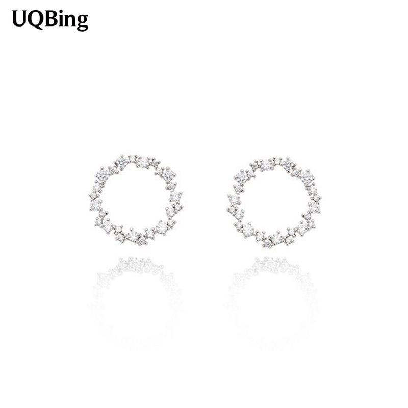 2017 Terbaik Gaya Busana 925 Sterling Silver Putaran Stud Earrings Dengan  Berlian Imitasi Wanita Perhiasan Bebas Biaya Brincos b4eb53a7e7