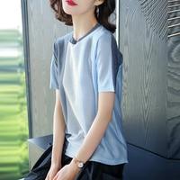 High quality summer women patchwork colors knit blouse linen cotton blouses tops short sleeve