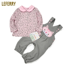 Cotton Baby Girl Clothes Sets High Quality Clothing Infant Kleding Printed T shirt + Overalls 2019 New Fashion