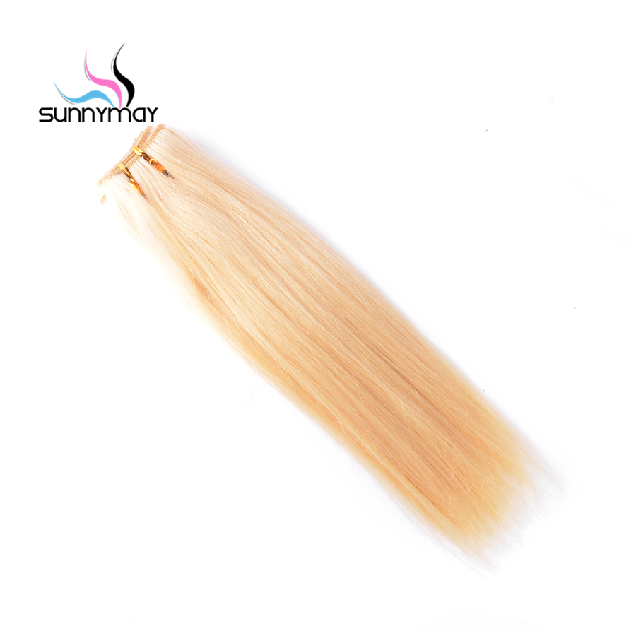 Sunnymay Straight Blonde Brazilian Remy Hair Weaving 100g Color Double Weft Human Hair Bundles 613 Free Shipping