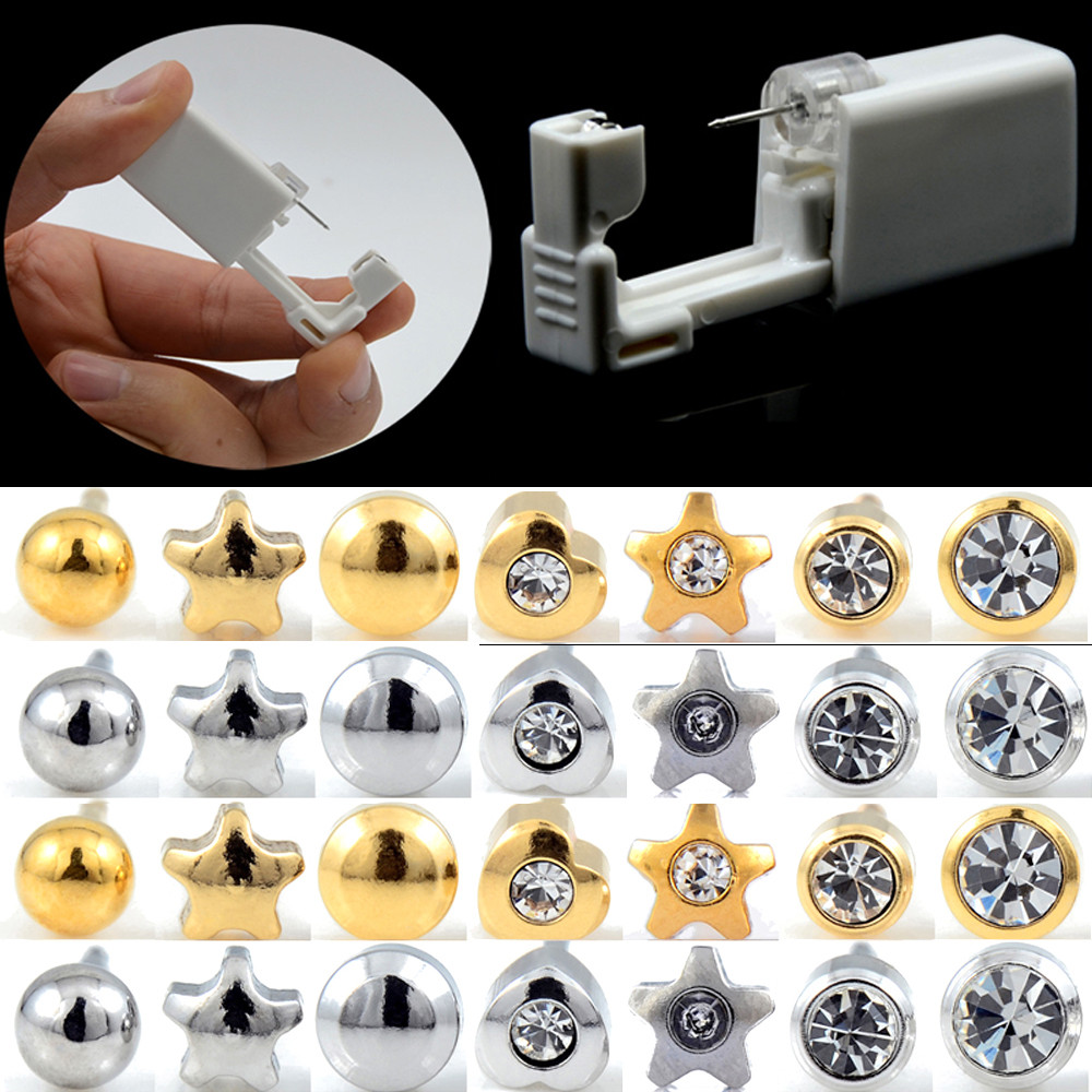2Units Sterlised Disposable Safety Ear Nose Piercing Device Machine Tools NO PAIN Piercer Tool Machine Kit Stud Choose Design