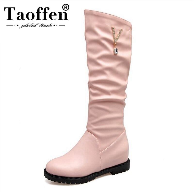 Cuña Zapatos blanco De Taoffen Calzado Punta Redonda rosado Elegante Mujeres Botas Hebilla Negro Invierno 34 Tamaño Rodilla 43 Las Moda Mujer FRqvIpq