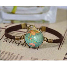 Винтажный кожаный браслет со стеклянными украшениями с изображением