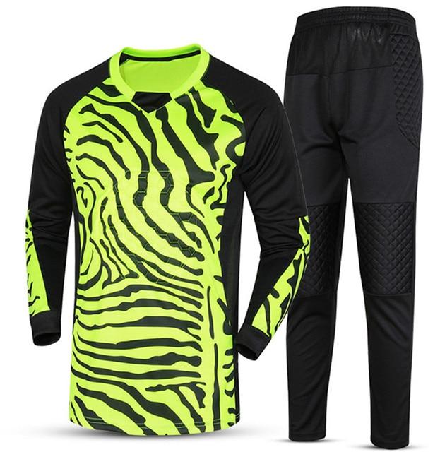 cfbcdadfc Men's Football Goalkeeper Sportswear Long-sleeve Jerseys Top Training Soccer  Goalie Jersey for men