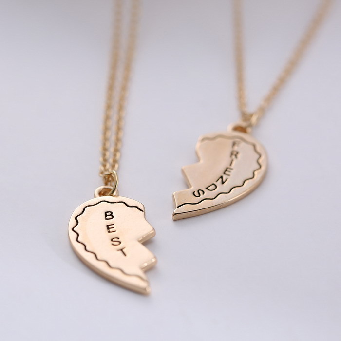 2866babdc3 Matching Set broken Heart Couple Necklace Engrave best friend gold plated  letter Pendant Necklaces love jewelry on Aliexpress.com | Alibaba Group