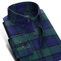 2017 Spring Men S Flannel Plaid Dress Shirts Square Collar Button Down No Pocket 100