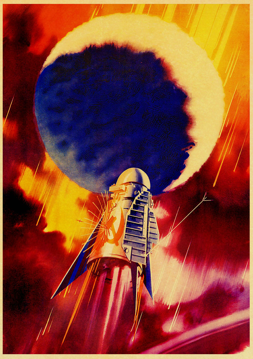 HTB12J qeqSs3KVjSZPiq6AsiVXa6 Vintage Russian Propaganda Poster The Space Race Retro USSR CCCP Posters and Prints Kraft Paper Wall Art Home Room Decor