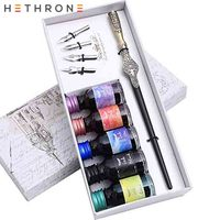 Hethrone Blue Vintage Innovation Handmade Wood carving Dip Pen Writing Caligraphy metal Stem Pen ink Dip pen Beginner gift Set