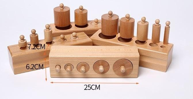Jouets en bois Montessori L'éducation Cylindrique Prises Bloc Jouets Bébé Développement Pratique et Sens Famille Jouets