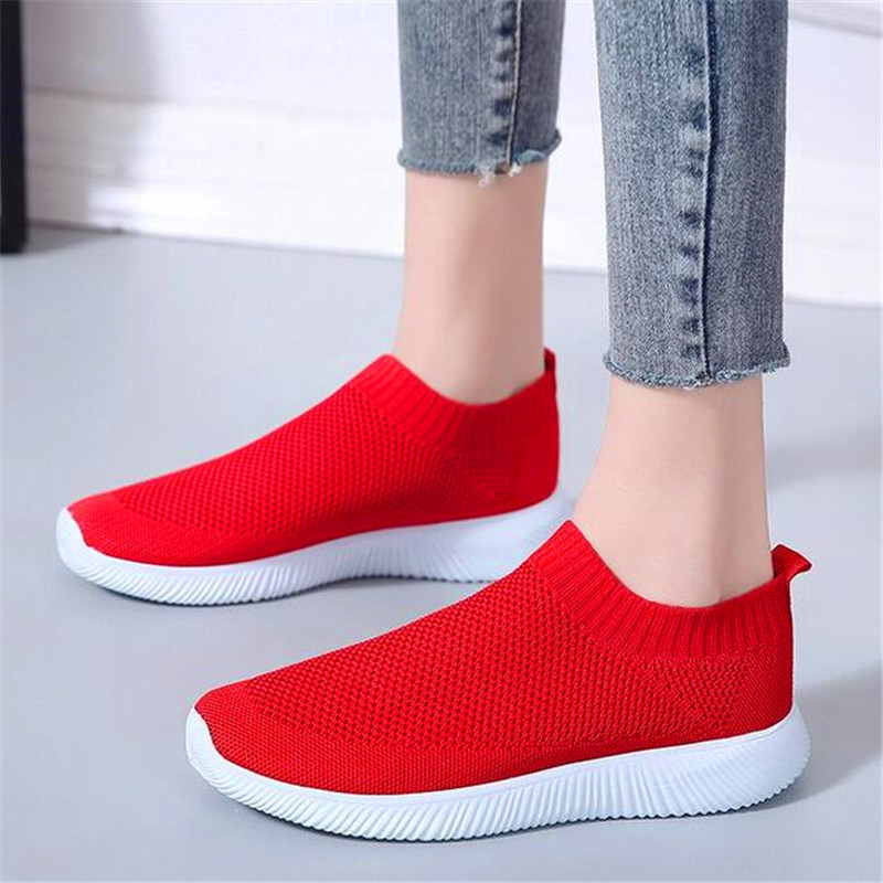 2019 four seasons large size explosions flying woven socks stretch breathable casual fashion womens shoes