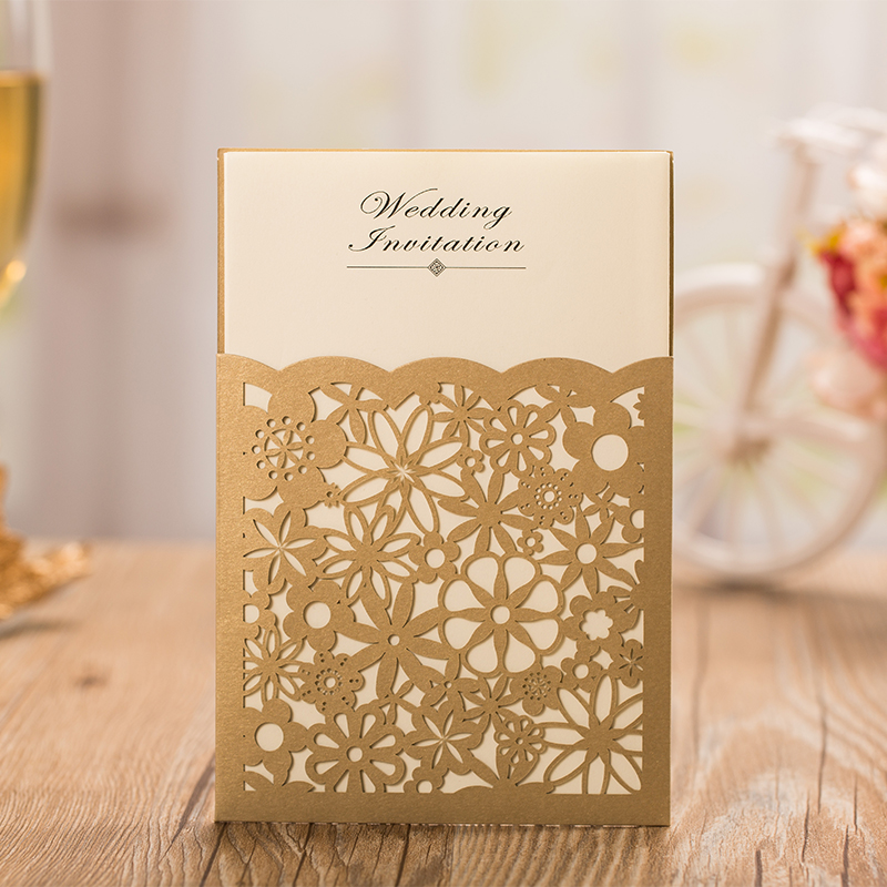 Stylish Wedding Invitation Pocket Gold Wedding Invitation Floral