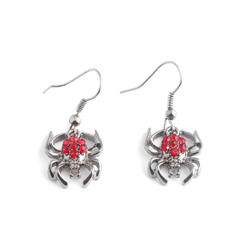 M2 New Arrival Spiderman Cartoon Spider Earrings Stud For Men and Women Crystal Alloy Jewelry Drop Shipping