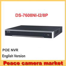 2016 NEW Hikvision NVR 8ch English version DS-7608NI-I2/8P up to 12MP 4K 8ch NVR 8PoE 2SATA H.265/H.264/MPEG4  CCTV NVR