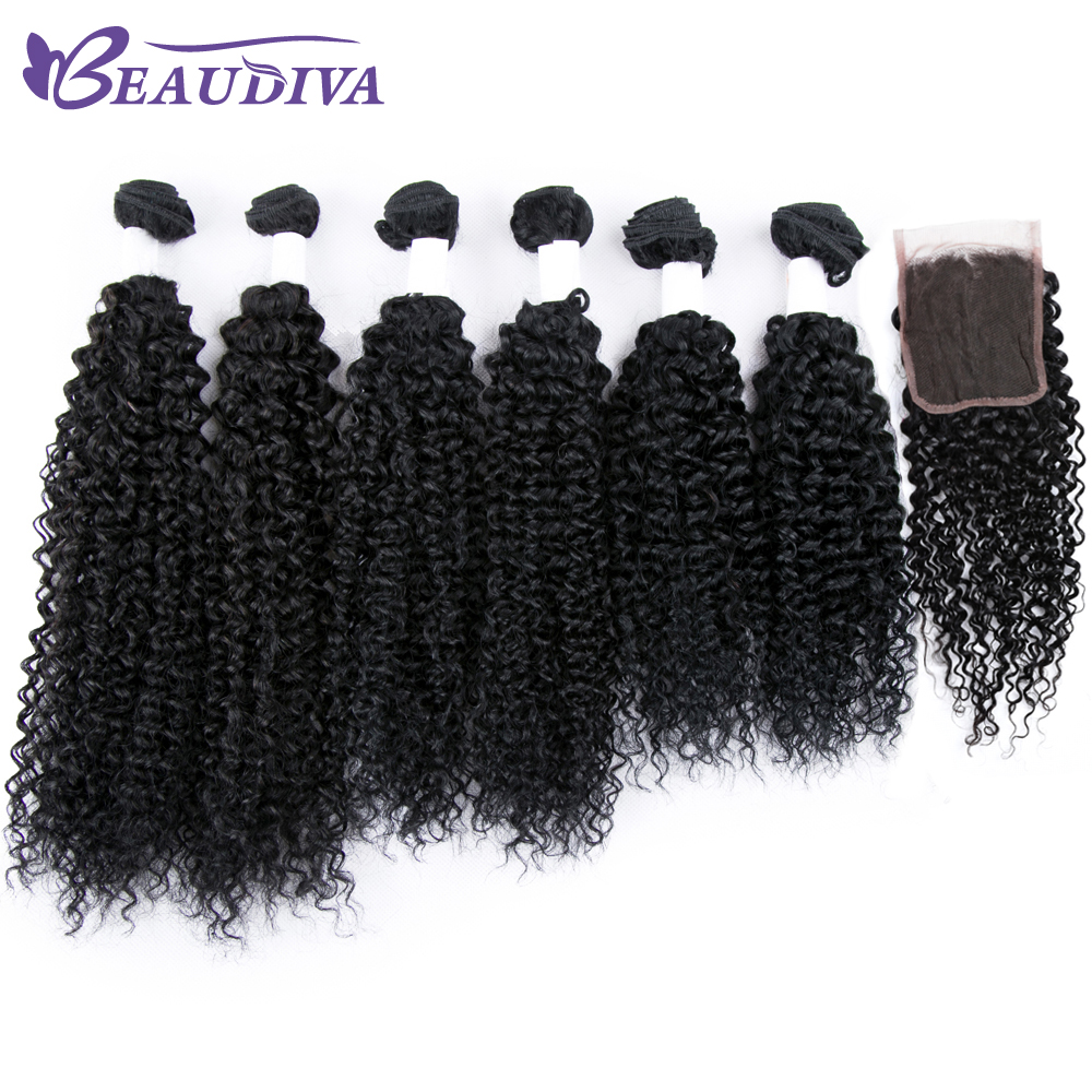 Brazilian Afro Kinky Curly Weave Human Hair 6 Bundles With Closure 4 4 Free Part Remy