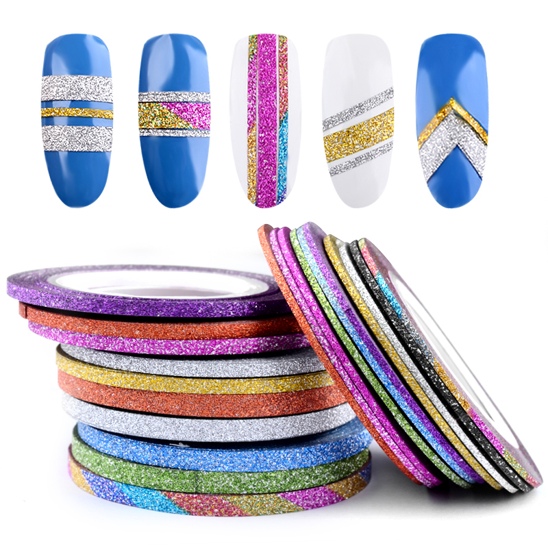 10 Rolls Glitter Nail Art Striping Tape Line Sticker Tips Decorations 1MM/2MM/3MM DIY Self-Adhesive 3d Decals Manicure Tools 14 rolls glitter scrub nail art striping tape line sticker tips diy mixed colors self adhesive decal tools manicure 1mm 2mm 3mm