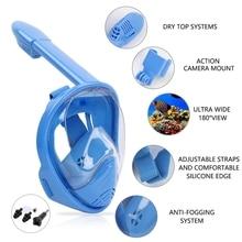 Маска для подводки лица, складная 180 градусов панорамная маска для подводного плавания, анти-туман, анти-утечки дизайн для детей, Синий XS