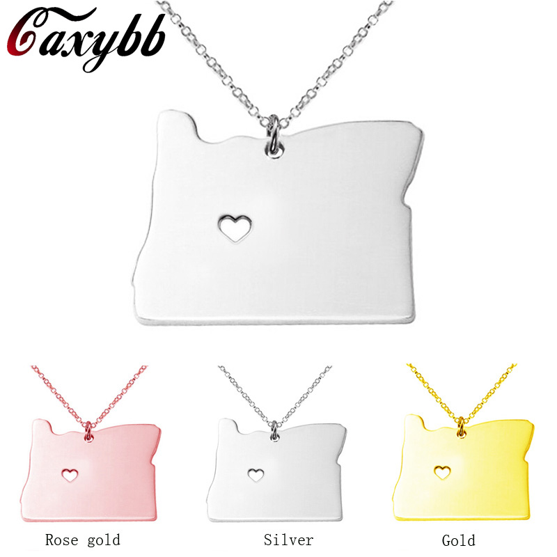 3 color Oregon state map necklace Stainless Steel map Pendant Necklaces bijouterie accessories CN15