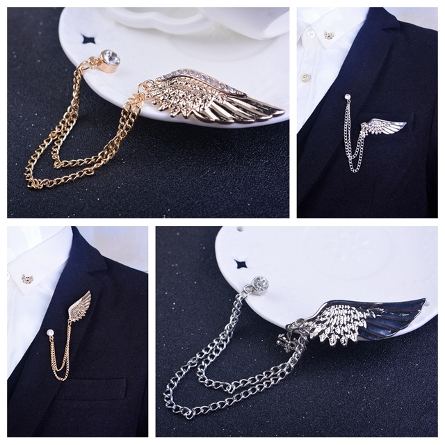 6b558a550334 New Fashion Yellow Gold Love Angel Wings Tassel Crystal Brooch Pin Jewelry Suit  Collar Pins Men's