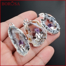 Silver Plated Natural Color Freeform Natural Onyx Druzy Drusy Agate Slice Pendant Inlay Natural Amethyst WX008