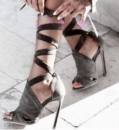 21b3ced67d Free shipping cross-tied lace up high heels peep toe gladiator sandal grey  color women