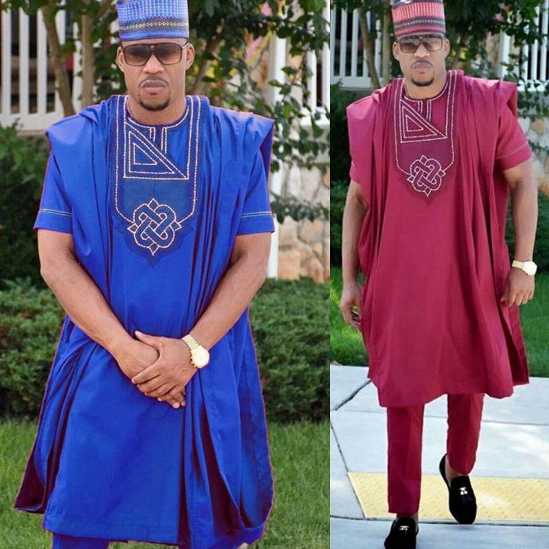 No hat 2019 dashiki broderie africaine hommes vêtements riche bazin hommes costume hauts chemise pantalon 3 pièces ensemble grande taille PH3062