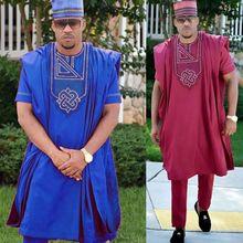 No sombrero 2019 dashiki bordado hombres africanos ropa riche bazin traje  tops camiseta pantalones 3 unidades conjunto Plus tama. 64eee3cdeba