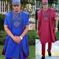 no hat 2019 dashiki embroidery african men clothes riche bazin mens suit tops shirt pants 3 pieces set Plus Size PH3062