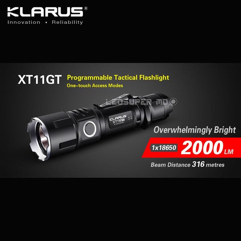 Nouveau produit chaud KLARUS XT11GT 2000 Lumens CREE XHP35 HD E4 LED lampe de poche tactique Programmable USB charge avec batterie 18650