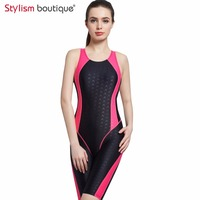 2017 Women Neck To Knee Competition Swimsuit Racing Suit One Piece Bathing Suits One Piece Swimwear