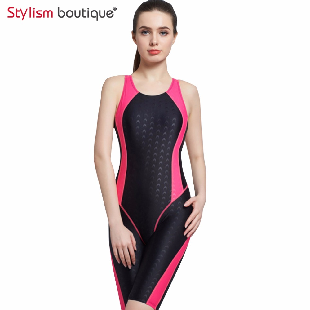 2018 Women Neck to Knee Competition Swimsuit Racing Suit One Piece Bathing suits One-piece Swimwear Girls Sport Swimsuits yingfa professional competition sports women one piece triangle training swimsuit waterproof girl s swimwear women bathing suit