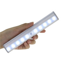 LED Cabinet Closet Lamp USB Rechargeable Wireless Motion Sensing Night Light 10 Sensor Lights