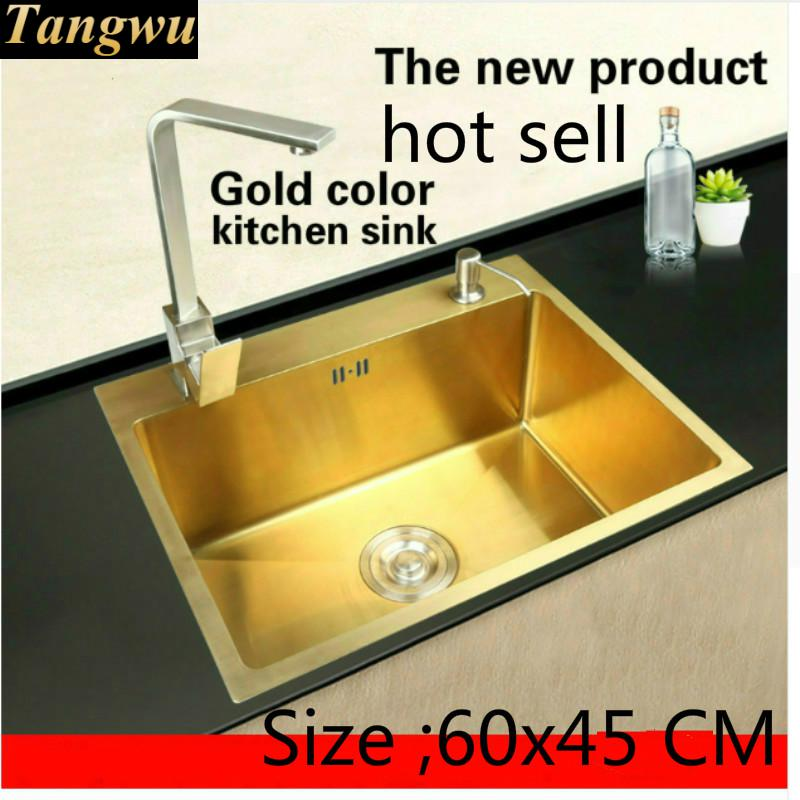 Free shipping Apartment luxury kitchen manual sink single trough gold color durable 304 stainless steel hot sell 600x450 MM image
