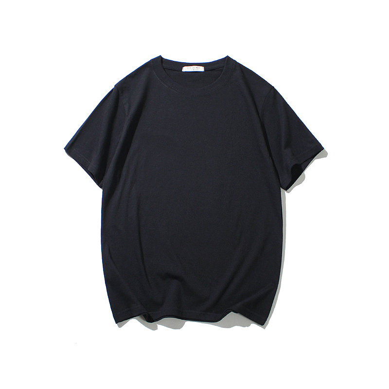 Cotton Tshirt Short-Sleeve Black Fashion Mens Casual O-Neck White Tee-Tops Hip-Hop Loose