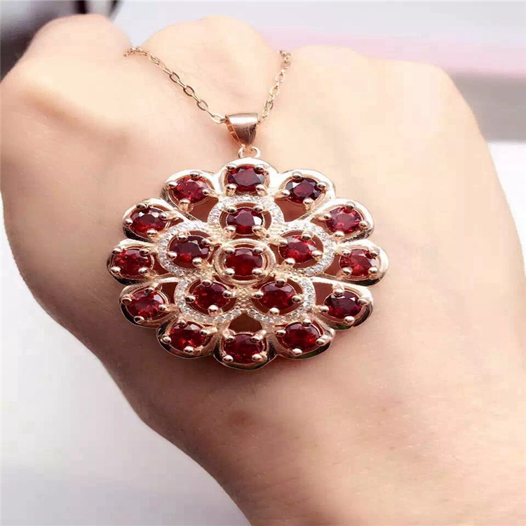 KJJEAXCMY boutique jewels 925 pure silver inlaid with gold jewelry natural garnet jewelry necklace - 2