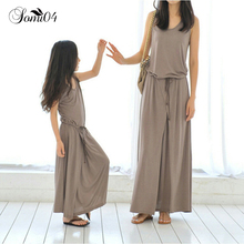 Mother Daughter Dresses Clothes Casual Cool Summer New 2018 Family Matching Outfits Sleeveless Cotton Mom Baby Loose Long Dress(China)
