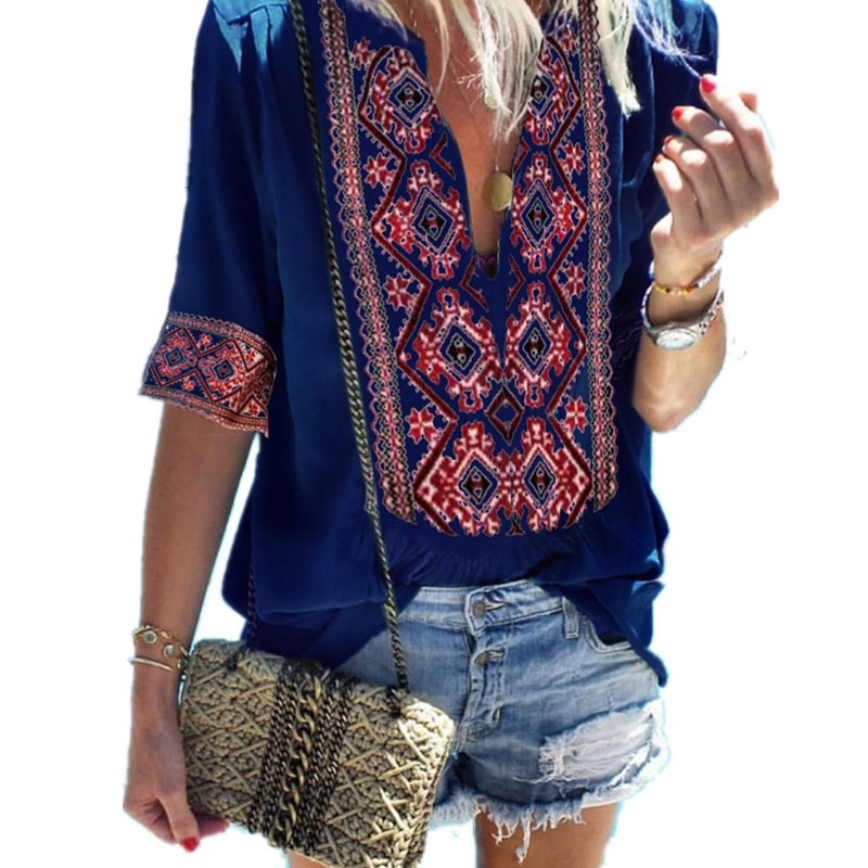 2019 Summer Boho Chiffon Top   Blouse   Women Sexy V Neck Half Sleeve Vintage Print Loose   Blouses     Shirt   Tunic Harajuku Woman Clothes