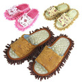 free shipping  Bottom massage slipper washable chenille lazy summer mopping slippers