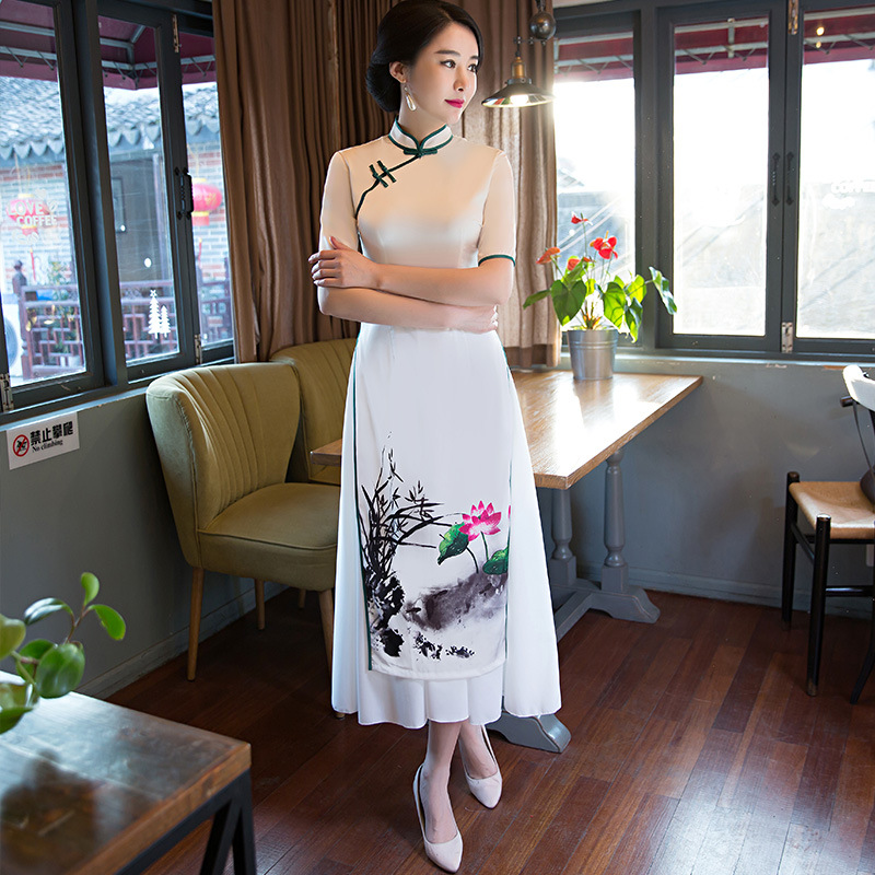 Charming Retro Women Chiffon Lined Silk Short Sleeve Audrey Cheongsam Chinese Traditional Wedding Dress High-slit Long Qipao