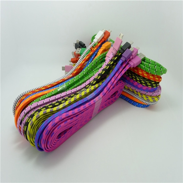 500pcs/Lot 3M 10ft Durable Braided Fabric Micro USB 2.0 Data Charger Cable For Samsung for LG for HTC