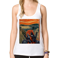 2016 Newest Women Fashion Deadscream Tank Tops American Comic Badass Deadpool Sport Vest Hipster Cool Tops