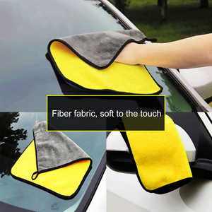 Image 3 - 30*30/60CM Car Wash Towel Microfiber yellow gray sides Cleaning Drying Towe Coral velvet double sided designCar Wash Towel