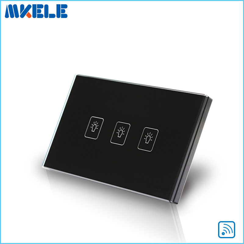 Control Wall Switch US Standard Remote Touch Black Crystal Glass Panel 3 Gang 1 Way With LED Indicator Switches Electrical free shipping wall light remote control touch switch us standard gold crystal glass panel with led 50hz 60hz