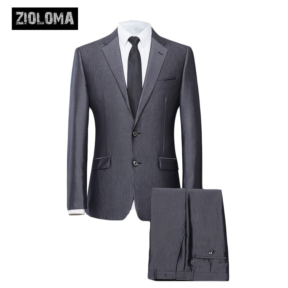 ZIOLOMA hommes châle revers 2 pièces costume masculin Slim Fit deux boutons robe costumes Blazer veste pantalon hommes d'affaires Blazer formel