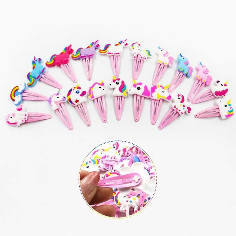 1 Pcs  4 Colors Glitter Unicorn Hairclips Cartoon Animal Hair Clips Cute Plastic Hairpins Kids Pin Hair Styling Tools Hot Sale