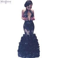 2018 Hot Preto Mermaid Prom Vestidos Sexy Backless Lace Ruffles Vestidos de Festa Halter Neck Prom Vestidos vestido de festa Africano