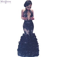 2018 Hot Black Mermaid Prom Dresses Sexy Backless Lace Ruffles Party Dresses Halter Neck African Prom Gowns vestido de festa