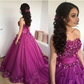 Beautiful Purple Evening Dresses With 3D flowers Strapless ball gown long prom dresses ball gown vestido de festa