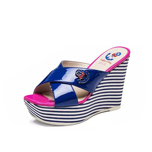 9abf507e6 new summer women slides high heel sandals Hello Kitty series stripe platform  wedge slippers patent leather candy color shoes 529